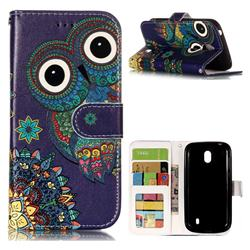 Folk Owl 3D Relief Oil PU Leather Wallet Case for Nokia 1