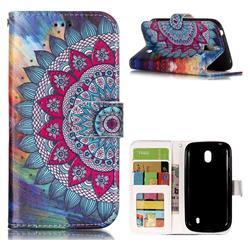 Mandala Flower 3D Relief Oil PU Leather Wallet Case for Nokia 1