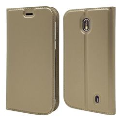 Ultra Slim Card Magnetic Automatic Suction Leather Wallet Case for Nokia 1 - Champagne