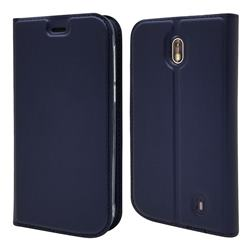 Ultra Slim Card Magnetic Automatic Suction Leather Wallet Case for Nokia 1 - Royal Blue