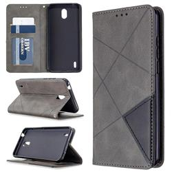 Prismatic Slim Magnetic Sucking Stitching Wallet Flip Cover for Nokia 1.3 - Gray