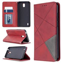 Prismatic Slim Magnetic Sucking Stitching Wallet Flip Cover for Nokia 1.3 - Red