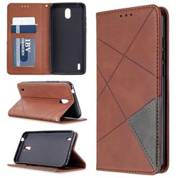 Prismatic Slim Magnetic Sucking Stitching Wallet Flip Cover for Nokia 1.3 - Brown