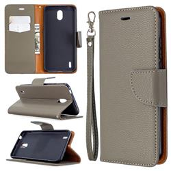 Classic Luxury Litchi Leather Phone Wallet Case for Nokia 1.3 - Gray