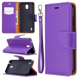 Classic Luxury Litchi Leather Phone Wallet Case for Nokia 1.3 - Purple