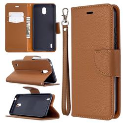 Classic Luxury Litchi Leather Phone Wallet Case for Nokia 1.3 - Brown