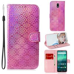 Laser Circle Shining Leather Wallet Phone Case for Nokia 1.3 - Pink