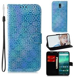 Laser Circle Shining Leather Wallet Phone Case for Nokia 1.3 - Blue