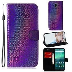 Laser Circle Shining Leather Wallet Phone Case for Nokia 1.3 - Purple