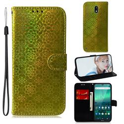 Laser Circle Shining Leather Wallet Phone Case for Nokia 1.3 - Golden