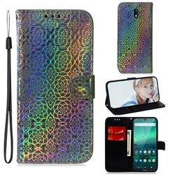 Laser Circle Shining Leather Wallet Phone Case for Nokia 1.3 - Silver