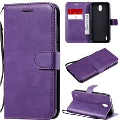 Retro Greek Classic Smooth PU Leather Wallet Phone Case for Nokia 1.3 - Purple