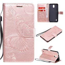 Embossing 3D Butterfly Leather Wallet Case for Nokia 1.3 - Rose Gold