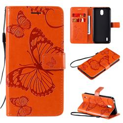 Embossing 3D Butterfly Leather Wallet Case for Nokia 1.3 - Orange