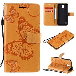 Embossing 3D Butterfly Leather Wallet Case for Nokia 1.3 - Yellow