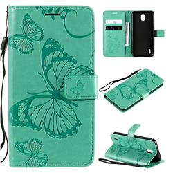 Embossing 3D Butterfly Leather Wallet Case for Nokia 1.3 - Green