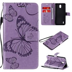 Embossing 3D Butterfly Leather Wallet Case for Nokia 1.3 - Purple