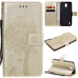 Embossing Butterfly Tree Leather Wallet Case for Nokia 1.3 - Champagne