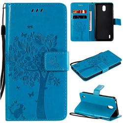 Embossing Butterfly Tree Leather Wallet Case for Nokia 1.3 - Blue