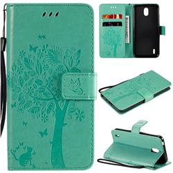 Embossing Butterfly Tree Leather Wallet Case for Nokia 1.3 - Cyan