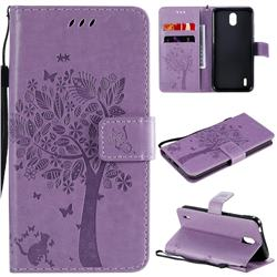 Embossing Butterfly Tree Leather Wallet Case for Nokia 1.3 - Violet