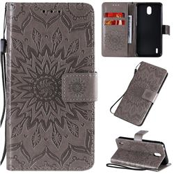 Embossing Sunflower Leather Wallet Case for Nokia 1.3 - Gray