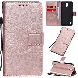 Embossing Sunflower Leather Wallet Case for Nokia 1.3 - Rose Gold
