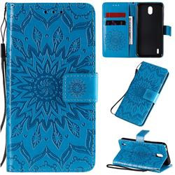 Embossing Sunflower Leather Wallet Case for Nokia 1.3 - Blue