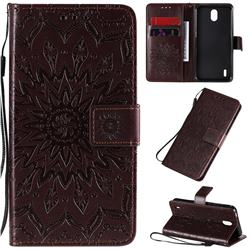 Embossing Sunflower Leather Wallet Case for Nokia 1.3 - Brown