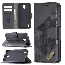 BinfenColor BF04 Color Block Stitching Crocodile Leather Case Cover for Nokia 1.3 - Black