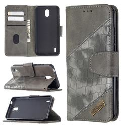 BinfenColor BF04 Color Block Stitching Crocodile Leather Case Cover for Nokia 1.3 - Gray