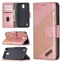 BinfenColor BF04 Color Block Stitching Crocodile Leather Case Cover for Nokia 1.3 - Rose Gold