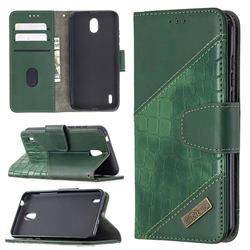 BinfenColor BF04 Color Block Stitching Crocodile Leather Case Cover for Nokia 1.3 - Green