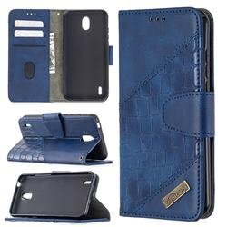 BinfenColor BF04 Color Block Stitching Crocodile Leather Case Cover for Nokia 1.3 - Blue
