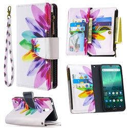 Seven-color Flowers Binfen Color BF03 Retro Zipper Leather Wallet Phone Case for Nokia 1.3
