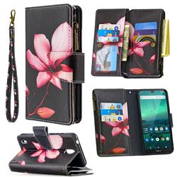 Lotus Flower Binfen Color BF03 Retro Zipper Leather Wallet Phone Case for Nokia 1.3