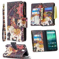 Totem Flower Elephant Binfen Color BF03 Retro Zipper Leather Wallet Phone Case for Nokia 1.3