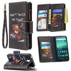 Chainsaw Bear Binfen Color BF03 Retro Zipper Leather Wallet Phone Case for Nokia 1.3