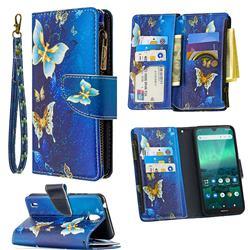 Golden Butterflies Binfen Color BF03 Retro Zipper Leather Wallet Phone Case for Nokia 1.3