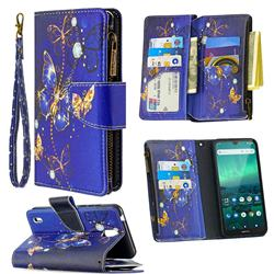 Purple Butterfly Binfen Color BF03 Retro Zipper Leather Wallet Phone Case for Nokia 1.3
