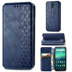 Ultra Slim Fashion Business Card Magnetic Automatic Suction Leather Flip Cover for Nokia 1.3 - Dark Blue