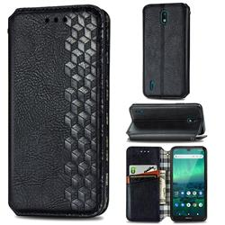 Ultra Slim Fashion Business Card Magnetic Automatic Suction Leather Flip Cover for Nokia 1.3 - Black