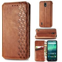 Ultra Slim Fashion Business Card Magnetic Automatic Suction Leather Flip Cover for Nokia 1.3 - Brown