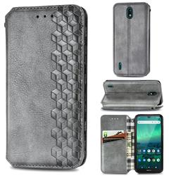 Ultra Slim Fashion Business Card Magnetic Automatic Suction Leather Flip Cover for Nokia 1.3 - Grey