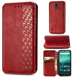 Ultra Slim Fashion Business Card Magnetic Automatic Suction Leather Flip Cover for Nokia 1.3 - Red