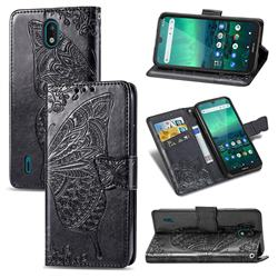 Embossing Mandala Flower Butterfly Leather Wallet Case for Nokia 1.3 - Black