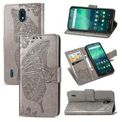 Embossing Mandala Flower Butterfly Leather Wallet Case for Nokia 1.3 - Gray