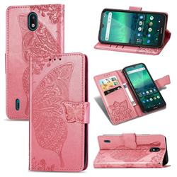 Embossing Mandala Flower Butterfly Leather Wallet Case for Nokia 1.3 - Pink