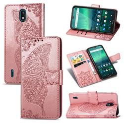 Embossing Mandala Flower Butterfly Leather Wallet Case for Nokia 1.3 - Rose Gold