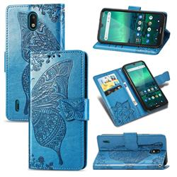 Embossing Mandala Flower Butterfly Leather Wallet Case for Nokia 1.3 - Blue